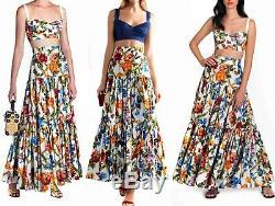 Dolce & Gabbana Floral Bamboo Print High Waisted Tiered Long Maxi Skirt SZ 46