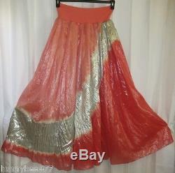 Donna Karan Skirt Black Label M LONG Maxi BoHo Metallic Gypsy FULL Circle Sweep