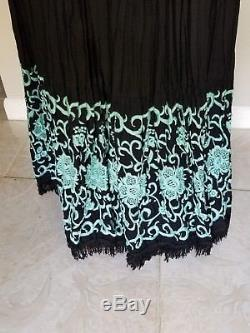 Double D Ranch Black Tiered Broomstick Crinkle Maxi Skirt Embroidery/Tassels Sml