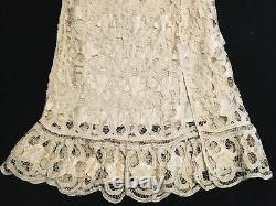 Double D Ranch Ivory Cream Lace Silk Floral Patch Maxi Rayon Large Formal Skirt