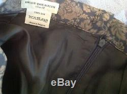 Dries Van Noten Silk Floral Pleated Maxi Skirt size 38 blue/grey