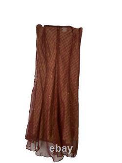 Dries Van Noten Womens Size 38/42 Red Beige Skirt Sheer Silk Printed Slip Maxi