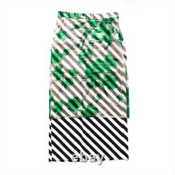 Dries van Noten silk organza blurred floral striped maxi pencil skirt Size 34