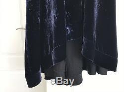 ELLERY Navy Blue Black Red Velvet Roulette Maxi Long Dress Top Shirt Skirt 8 S