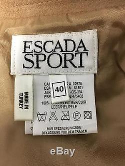 ESCADA SPORT Brown Leather Back Zip Long Middle Slit Maxi Skirt NWT Sz 40 CC361