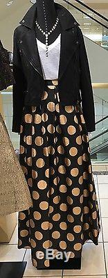 Eliza J Black Maxi Skirt With Gold Polka Dots Size 14