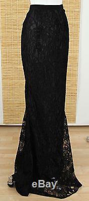 Emilio Pucci Black Lace Maxi Full Length Dress Skirt Viscose Silk Gold Sz 38 8