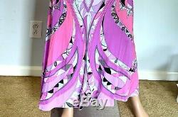 Emilio Pucci Silk Signature Print Long Maxi Gown Dress Skirt US 2 4 / IT 40 42