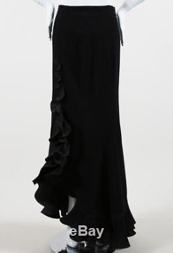 Escada Black Wool Ruffled Maxi Skirt SZ 36