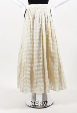 Escada Couture Cream Silk Striped Pleated Maxi Skirt SZ 34