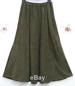 Eskandar GREEN Leather Suede Full Length Maxi 39 Long A-Line Skirt (2) $2490