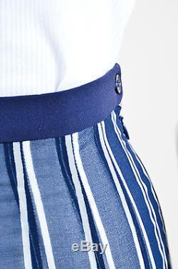 Etro NWT $960 Navy White Sheer Crepe Striped Pleated Maxi Long Skirt SZ M/L