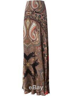 Etro Paisley Colorful Maxi Skirt Size 44 Ruso Capri Italy US M Size 8 Silk