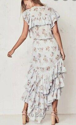 FREE PEOPLE LOVESHACKFANCY Sz M Elle TIERED MAXI SKIRT Floral Asymmetrical