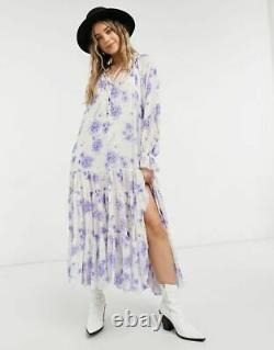 FREE PEOPLE Maxi Dress Feeling Groovy Tiered Skirt Purple Ivory size S NWT