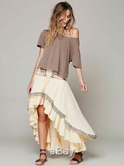FREE PEOPLE RARE Rises in the East Prairie Dreams High-Low Maxi Skirt Sz 4