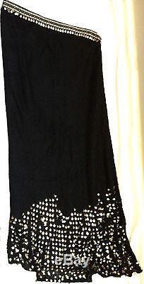 Fendi Maxi Full Long Asymmetrical Skirt Black Gold Metallic Made in Italy Mohair