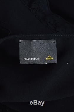 Fendi NWT $2150 Black Silk Tier Lace Trim Maxi Skirt SZ 42
