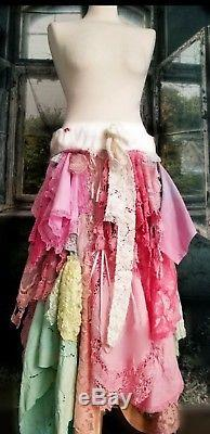 Floral lace layer ruffle Boho handkercheif tattered Stevie skirt maxi gypsy SML