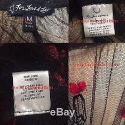 For Love & Lemons Desert Rose Cactus Embroidered Black Tulle Maxi Skirt M Nwt