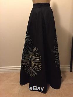 Franck Sorbier Paris Black Circle Long Skirt Embroidered Green Red Blue Sz 42