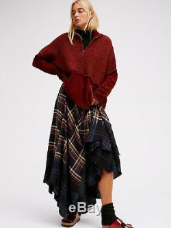 Free People 6 DIPPED IN DREAMS Plaid Maxi Skirt Linen Menswear dress distressed