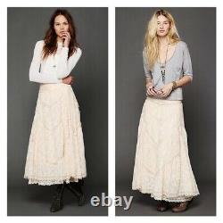 Free People Annie Oakley Lace Ivory Prairie Victorian Maxi Skirt XS Rare