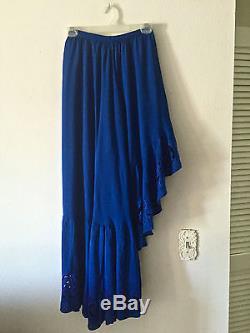 Free People Bali Thru The Palms Maxi Skirt Crop Wrap Top Set Blue Nwt 0 $350