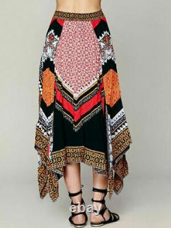 Free People Boho Traveler Black Red Print Maxi Skirt L Rare
