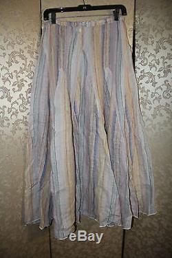 Free People CP SHADES RARE BLUE DREAM Striped Linen Multi-Color Maxi Skirt S