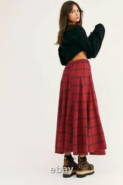 Free People CP Shades Lily Red Flannel Maxi Skirt Size XS