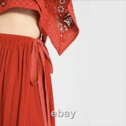 Free People Darling Red/Orange 2 Piece Skirt Set Small S NWT New