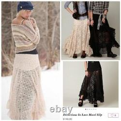 Free People Directions In Lace Ivory Maxi Skirt Convertible Dress Rare S