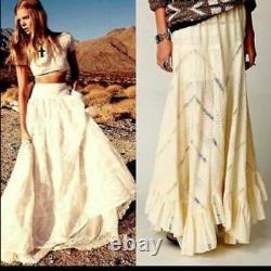 Free People Eyelet Ivory Victorian Prairie Hippie Festival Boho Maxi Skirt Rare