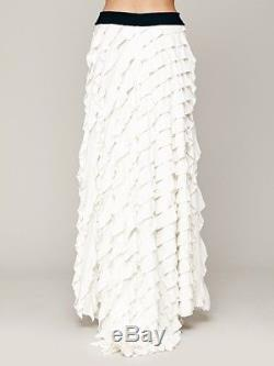 Free People FP X Lydia Ruffle Tiered Boho Maxi Ivory Supper Rare Size L $198