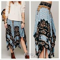Free People Fly Away Blue Black Floral Print Festival Boho Maxi Skirt S Rare
