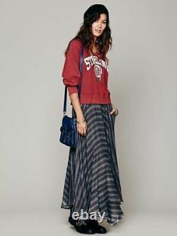 Free People Gauzy Striped Plaid Boho Grunge Punk Black Gray Maxi Skirt S Rare