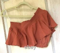 Free People Maxi Skirt Set 1 Shoulder Ruffle Belted Go For The Drama Rust M NEW
