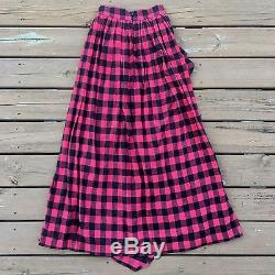 Free People Misile In Bloom Flannel Maxi Ruffle Skirt Buffalo Check Plaid XS