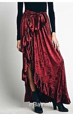 Free People Misile Montgomery Maxi Skirt ruffle red wine crush velvet XS $298