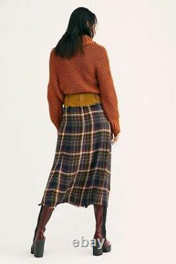 Free People NWT Size 12 Large Avril Plaid Flannel Maxi Skirt NEW