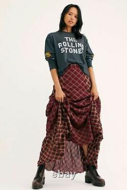 Free People NWT Size 2 Prairie Dreams Plaid Maxi Skirt New XS