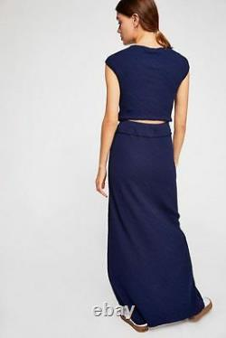 Free People NWT Size Small Lena Skirt Top Set Navy Blue NEW