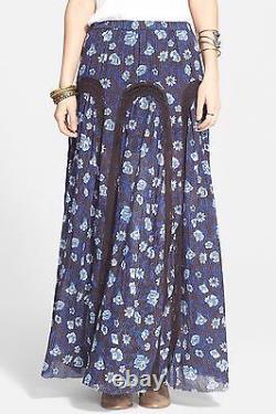 Free People OB426559 Zoe Blue/Indigo Combo Floral Cotton Maxi Skirt $148