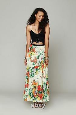 Free People One Floral Ivory Patchwork Boho Festival Maxi Skirt M Rare