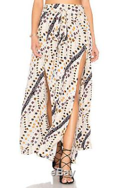 Free People Remember Me Maxi Skirt Faux-Wrap Double Slit High Waist OB501662