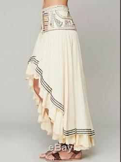 Free People Rises In The East Ivory Embroidered Prairie Maxi Skirt 0 XS Rare