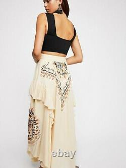 Free People Rugged Heart Print Floral Embroidered Ruffle Maxi Skirt XS 0
