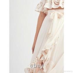 Free People Thru The Palms Embroided Bali Maxi Skirt Size 0 High Low Hem