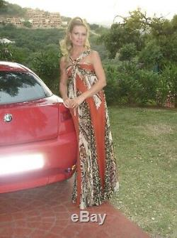 GAI MATTIOLO COUTURE Silk Long Dress Pleated Skirt IT 42 UK 8
